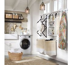 Gabrielle Laundry Set | Pottery Barn   I want this ceiling and those pendant lights in my laundry room!!
