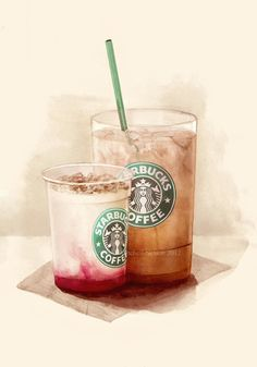 Starbucks Illustrations by Mitchell Nelson, via Behance