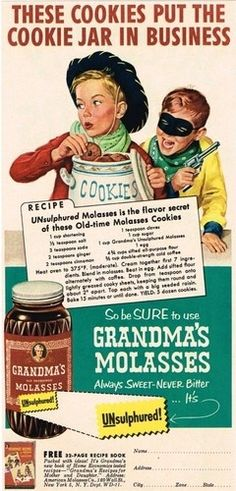 1953 Grandmas Molasses Little Cowboys Molasses Cookie Recipe Vintage Print Ad Retro Recipes, Old Recipes, Vintage Recipes, Cookie Recipes, Cookie Ideas, Sweet Recipes, Easy Recipes, Recipies, Vintage Advertisements