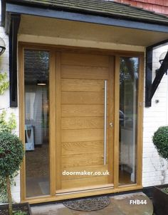 contemporary front door with sidelights porch pillars - Google Search