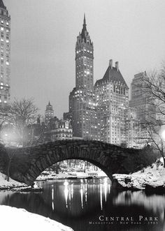 Dated 1961, this beautiful black-and-white poster captures a peaceful winter scene of Central Park.