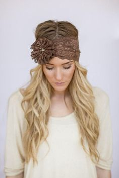 For the big day our Mrs. I Do lace headbands are the finishing touch to your big day. Beautiful elegant stretchy wedding lace delicate floral headbands. Handmade in California. Oversized scalloped lace headband with hand stitched floral accents. One size fits all adult sized heads.