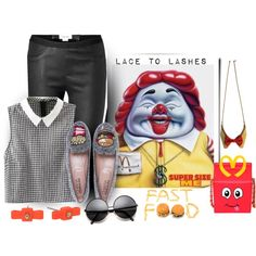 Supersize Me by lacetolashes on Polyvore featuring Helmut Lang, Moschino, Sage et Sauvage, MARC BY MARC JACOBS, fashiontrend, contestentry, fastfood and lacetolashes