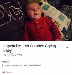 Imperial March soothes crying baby.