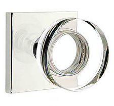 Emtek Products, Inc. 5210-US26-MDC-2.38 - Emtek Modern Disc Crystal Door Knobset with Square Rosette (Privacy - Polished Chrome - 2-3/8in. Backset) - The Hardware Hut