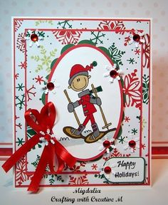 """Christmas card with the """"AKV Winter - Snow Shoe"""" from Bugaboo Stamps."""