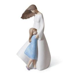 Lladro mother figurine, I Love You Mom. Size: x Mother with child collection. Daughter in blue dress hugging mother.