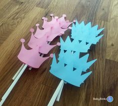 Cupcake Toppers: Prince or Princess Gender Reveal Party Baby Shower - Die Cut Pink Girl Tiara & Blue Boy Crown little prince princess party