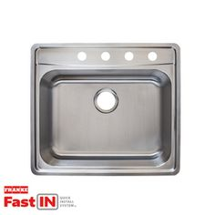 Franke Fast-in 25.5-in x 22.5-in Single-Basin Stainless Steel Drop-in 4-Hole Commercial/Residential Kitchen Sink