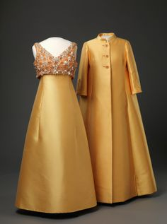 Evening dress and coat, Molstad & Co, 1968, worn by Queen Sonja of Norway
