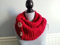 Items similar to SALE Infinity red scarf - Red snood - Red knit scarf - Unisex knit scarf - Big button scarf on Etsy Knitted Scarves, Red Scarves, Handmade Scarves, Handmade Gifts, Red Christmas, Christmas Gifts, Crochet Snood, Snood Scarf, Tube Scarf