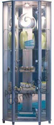 Corner Glass Display Cabinet Beech, Silver, Wenge, Black, White, Oak, Mahogany