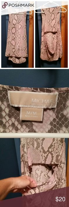 Michael Kors pink/gray tank blouse Gorgeous top. Long with the accent opening in the back. The material is thin semi sheer. It doesn't have tags but I've never worn it so it's new. MICHAEL Michael Kors Tops Blouses