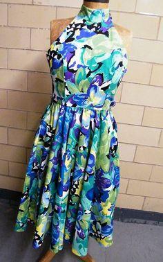 Halter Dress..Water Color Abstract Floral Print..Cotton..AJ BARI..1970's-80's..Korea..Size 8