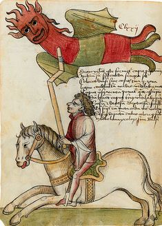 'Rider with kite' in Konrad Kyeser's Bellifortis (Clm 30150), 15th century.  Personally I like to think of it as a demon windsock.