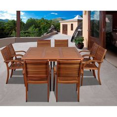 Amazonia Riviera 9-piece Eucalyptus Wood Square Dining Set - Overstock Shopping - Big Discounts on Amazonia Dining Sets