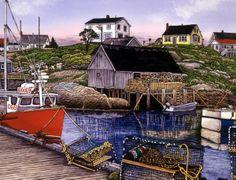 Fishing Village by Thelma Winter Kitsch, Lighthouse Art, Nautical Art, Fishing Villages, Winter Art, Folk Art, Coastal, Cabin, Lighthouses