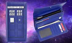 This police box isn't a police box - it's the TARDIS! Always travel with the TARDIS when you use your Doctor Who TARDIS Ladies Wallet! Doctor Who Tardis, Eleventh Doctor, Secrets Of The Universe, David Tennant Doctor Who, Doctor Who Quotes, Through Time And Space, Police Box, Best Wallet, Time Lords