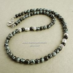 This is a classy looking mens beaded necklace, which I designed and handcrafted with this unique natural stone called Snowflake Obsidian. It is