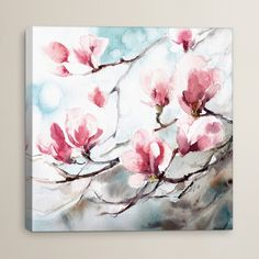 """House of Hampton Magnolia Spring Painting Print on Wrapped Canvas Size: 18"""" H x 18"""" W x 0.75"""" D"""