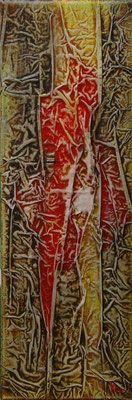 Matières et couleurs I, Techniques mixtes sur toile, 20 x 60 cm, vendu