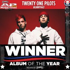 "This year's Album of the Year award presented by Journeys goes to Twenty One Pilots for ""Blurryface""  #APMAS"