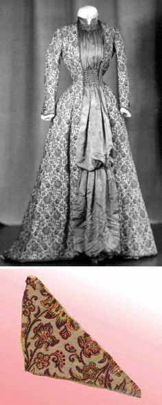Soft twilled wool/silk brocade tea or morning gown, 1878. Princess cut with bustle effect, small train. Fabric has cream background figured in red and black paisley-type design. Rose silk insert down front, shirred at waist & neck; mandarin collar with lace ruffles inside; matching cuffs; heavy silk cord trim; lace ruffle around hem. Cornell Univ. 1870s Fashion, Victorian Fashion, Vintage Fashion, 1800s Clothing, Tea Gown, Bustle Dress, 19th Century Fashion, Period Outfit, Silk Brocade