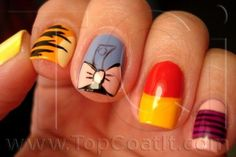 Winnie the Pooh nails--love the Eeyore one especially