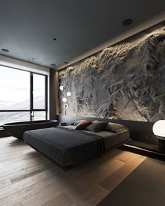 How To Use Lighting And Textures To Add Interest To Dark Interiors Dark decor interiors that feature textured feature walls with modern lighting ideas, including wood slatted wall panels, and rustic stone feature walls. Luxury Bedroom Design, Home Room Design, Master Bedroom Design, House Design, Industrial Bedroom Design, Black Bedroom Design, Loft Design, Design Design, Stone Feature Wall