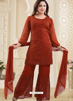 Orange Georgette Readymade Heavy Designer Suit