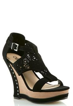 Cato Fashions Laser Cutout Wedges  #CatoFashions