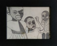 African children with angry faces, pencil drawing 25 x 20 cm including black frame For more details see my Etsy shop (link below)