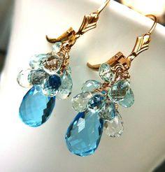 Something Blue. Topaz & Aquamarine Drop Earrings. Cluster Earrings. Leverback. DECEMBER birthstone Earrings.