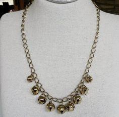 Vintage Jingle Bells Gold Tone Charm Necklace 1980s Christmas Xmas #NotSigned #Chain