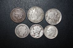 """SIX VERY OLD HARD TO FIND COINS ! """" TAKE LOOK """" 