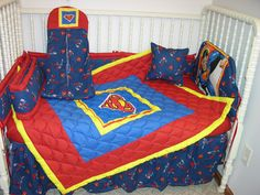 NEW CRIB NURSERY BEDDING SET MADE/W SUPERMAN FABRIC | eBay