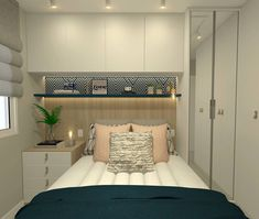 Tiny bedroom + built in storage and closet around the bed. Small Bedroom Furniture, Bedroom Bed Design, Home Room Design, Small Room Bedroom, Modern Bedroom, Tiny Bedrooms, Condo Living, Living Room Decor, Bedroom Decor