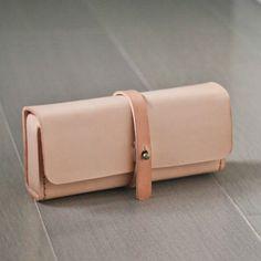 Natural color vegetable cow hide leather Pencil Case/Pen Pouch/ Sunglasses Case