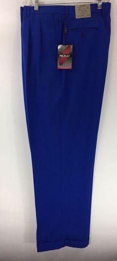 Men's Royal Blue Dress Pants 2-Pleats with Cuff Hem Polyester Pacelli Pierce #Pacelli #DressPleat