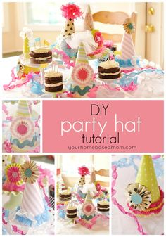 BIRTHDAY PARTY HAT TUTORIAL    BY LEIGH ANNE I made a template out of some light weight cardboard.  I measured down ten inches on two sides and then connected those points with a curved line.  I just used a plate to get a nice even rounded line.I traced the shape onto the back of my 12 x 12 scrapbook paper