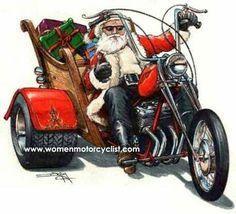 Santa Rides A Motorcycle Christmas Card Collection Christmas Pictures, Christmas Art, Christmas Greetings, Vintage Christmas, Xmas, Harley Davidson Tattoos, Harley Davidson Motorcycles, Motorcycle Art, Bike Art