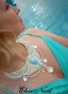 Necklace with pearls and Larimar. Bead by JewelryElenNoel on Etsy, $656.00
