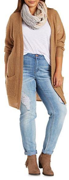 Plus Size Fuzzy Boyfriend Cardigan Sweater