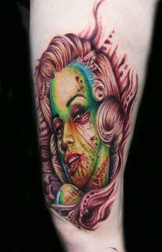 marilyn monroe zombie tattoo