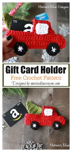 Red Truck Gift Card Holder Free Crochet Pattern The Christmas Gift Card Holder Free Crochet Pattern is the perfect way to add a special homemade touch to gift cards during this Christmas season. Christmas Gift Card Holders, Gift Card Boxes, Crochet Christmas Hats, Christmas Crochet Patterns, Best Gift Cards, Free Gift Cards, Crochet Gifts, Free Crochet, Gift Card Giveaway