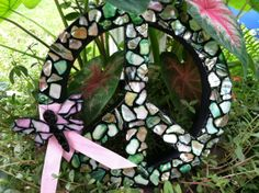 Groovy Mosaic Peace Sign Wreath with Dragonfly by DragonflyzDesign, $35.00