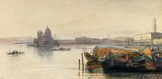 Edward+Lear+-+S.+Maria+della+Salute+&+the+Doge's+Palace+from+across+the+Bacino+at+Sunset