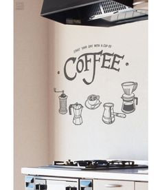 Coffeeware Set Lettering Start Day with Coffee DIY Modern Kitchen Wall Art Vinyl Decals Stickers for home cafe decor ss-5