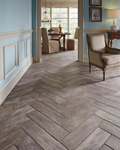 A real wood floor look without the wood worry. Wood plank tiles make the perfect alternative for wood floors. Create interest by laying your tile in a timeless herringbone pattern, giving your space elegant design presence with an even bigger wow. Wood Plank Tile, Wood Tile Floors, Parquet Flooring, Wood Look Tile Floor, Ceramic Wood Tile Floor, Wood Like Tile, Wood Planks, Hardwood Floors, Rustic Tile Flooring