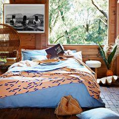 decor, interior, wood, bedroom, blue, brown,